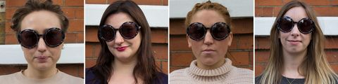 Sunglasses tested on different face shapes: round