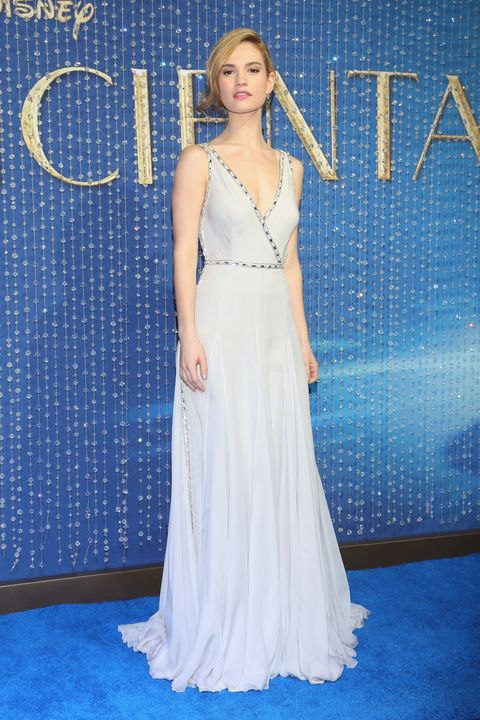 Lily James Wearing An Ice Blue Dress At The Cinderella Premiere