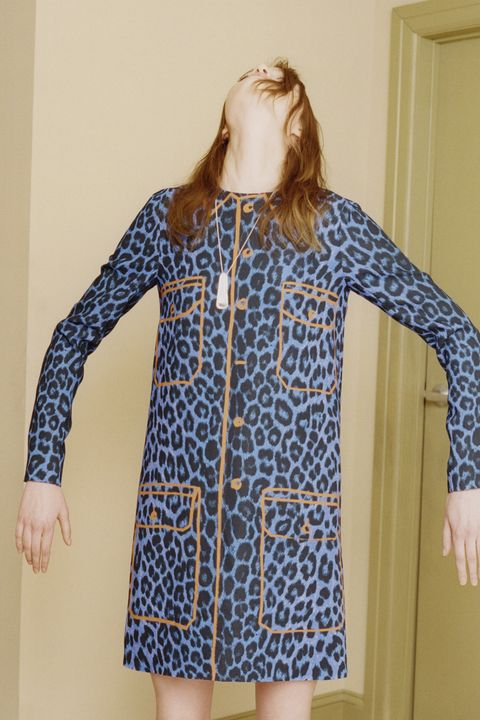Blue, Sleeve, Shoulder, Collar, Pattern, Textile, Joint, Standing, Dress, Electric blue,