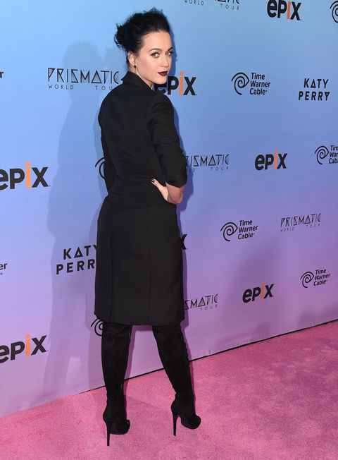 Katy Perry at the Prismatic World Tour premiere in a tuxedo dress