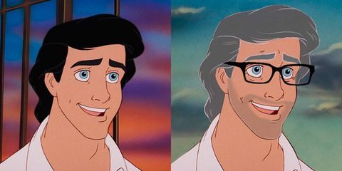 disney characters go older and eric is a total silver fox