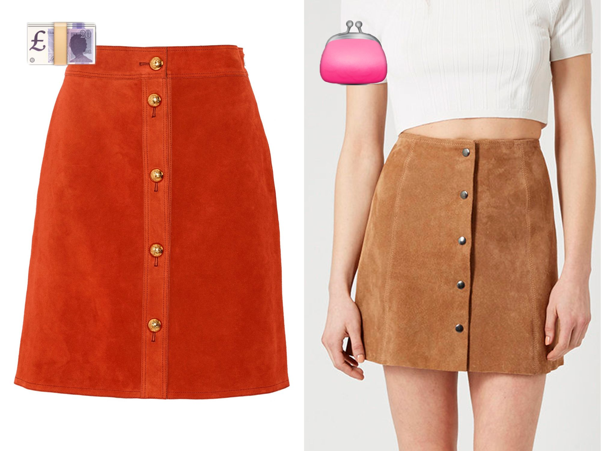 Suede skirts: the best designer buys vs high street heroes