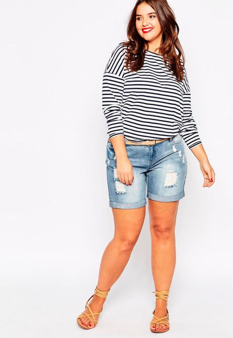 17bf6624a7f How to wear denim shorts if you re curvy  wear a long-sleeved