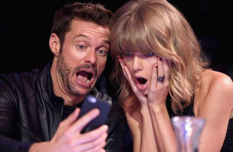 Ryan Seacrest and Taylor Swift take a selfie