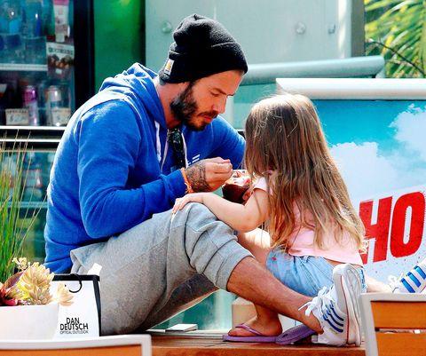 David Beckham and Harper get ice cream because it's HOT