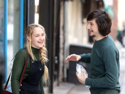 Jemima Kirke and Adam Driver as Jessa and Adam behind the scenes on the set of season 5 of GIRLS