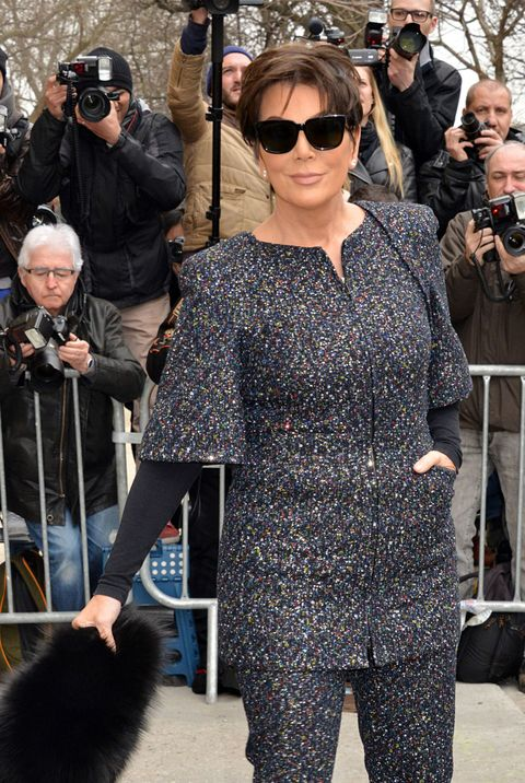 Kris Jenner wears a sparkly suit at Paris Fashion Week