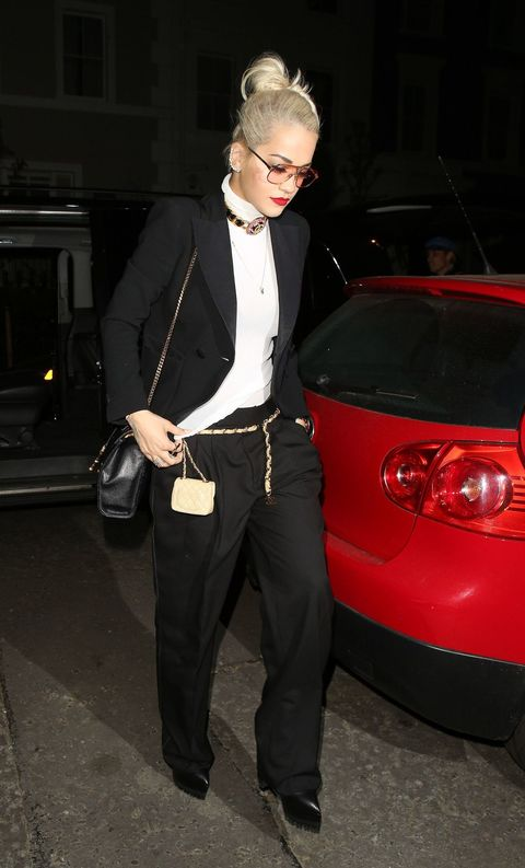 Rita Ora gives the suited and booted trend a twist