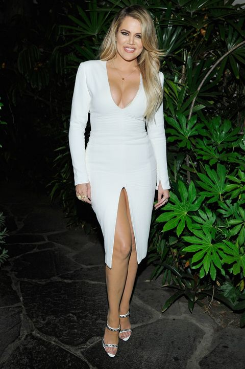 e11fbde526d Khloe Kardashian wearing plunging white dress at  mycalvins launch