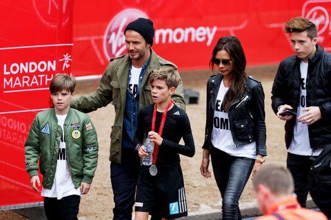 The beautiful Beckham family supports Romeo at the Junior London Marathon