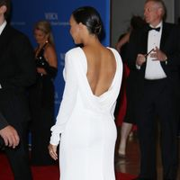 Naya Rivera dresses her bump in a slinky backless dress