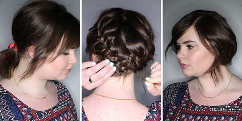 Four different up-dos for short hair