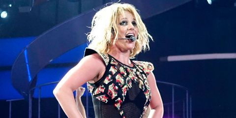 Britney Spears falls over on stage and OW!