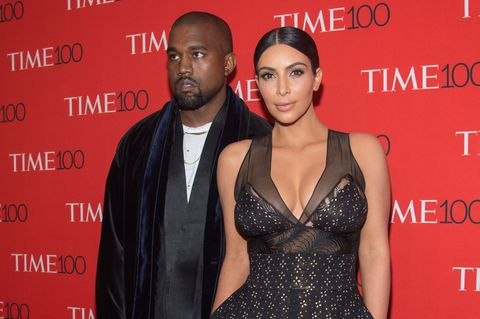 Kim Kardashian and Kanye West on the red carpet at the Time 100 Dinner 2015, celebrating the 100 most influential people in the world