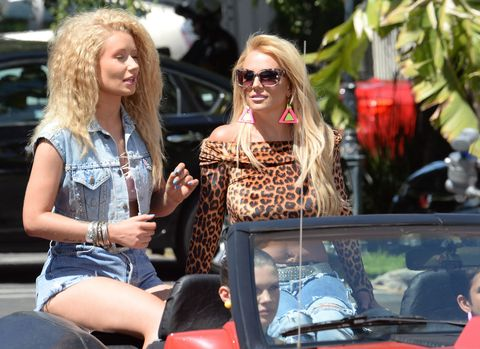 Iggy Azalea and Britney Spears filming on the set of the video for their new song, 'Pretty Girls'