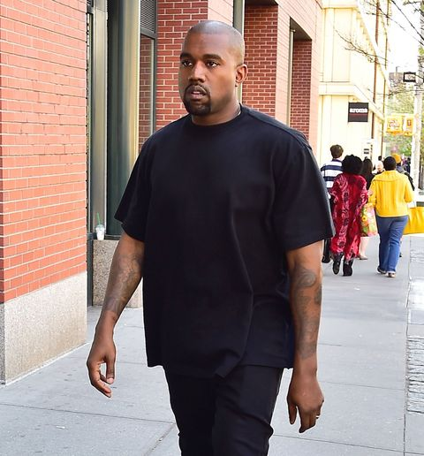 Kanye West wears all black in Soho, May 2015