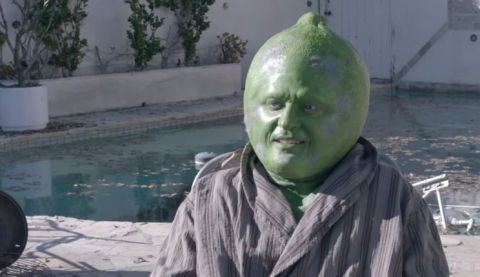 Here's Justin Timberlake dressed up as a forlorn lime-faced man