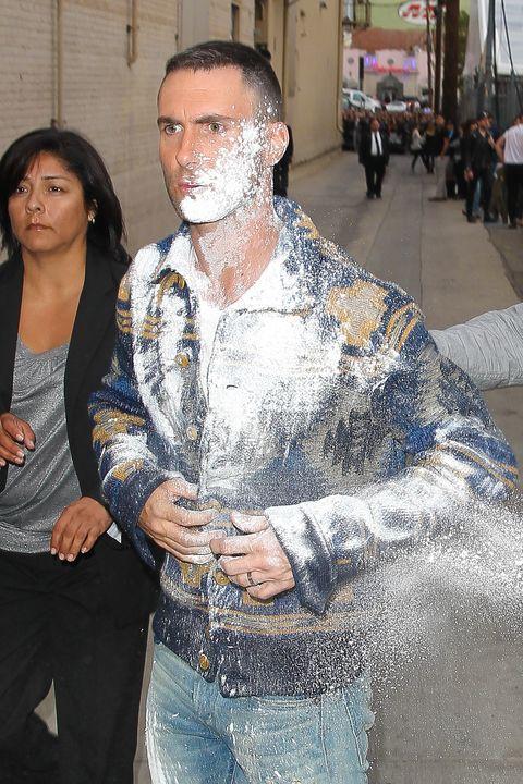 Adam Levine gets powder bombed