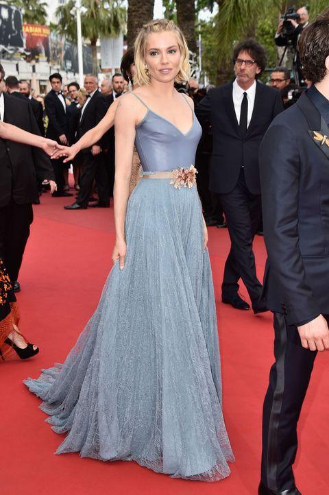 Sienna Miller wears a beautiful blue dress in Cannes