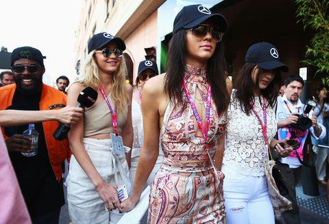 Kendall Jenner, Gigi Hadid and Bella Hadid at the Monaco Grand Prix