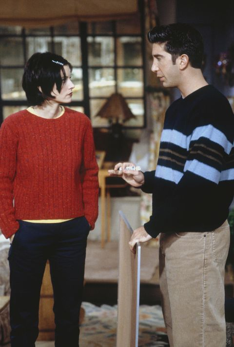 "FRIENDS -- ""The One with the Embryos"" Episode 12 -- Pictured: (l-r) Courteney Cox as Monica Geller, David Schwimmer as Ross Geller -- Photo by: J. Delvalle/NBCU Photo Bank"