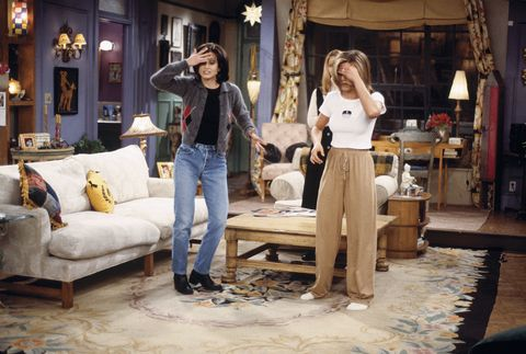 "FRIENDS -- ""The One After the Superbowl"" (Part 2) Episode 12 -- Pictured: (l-r) Courteney Cox Arquette as Monica Geller, Jennifer Aniston as Rachel Green -- Photo by: J. Delvalle/NBCU Photo Bank"
