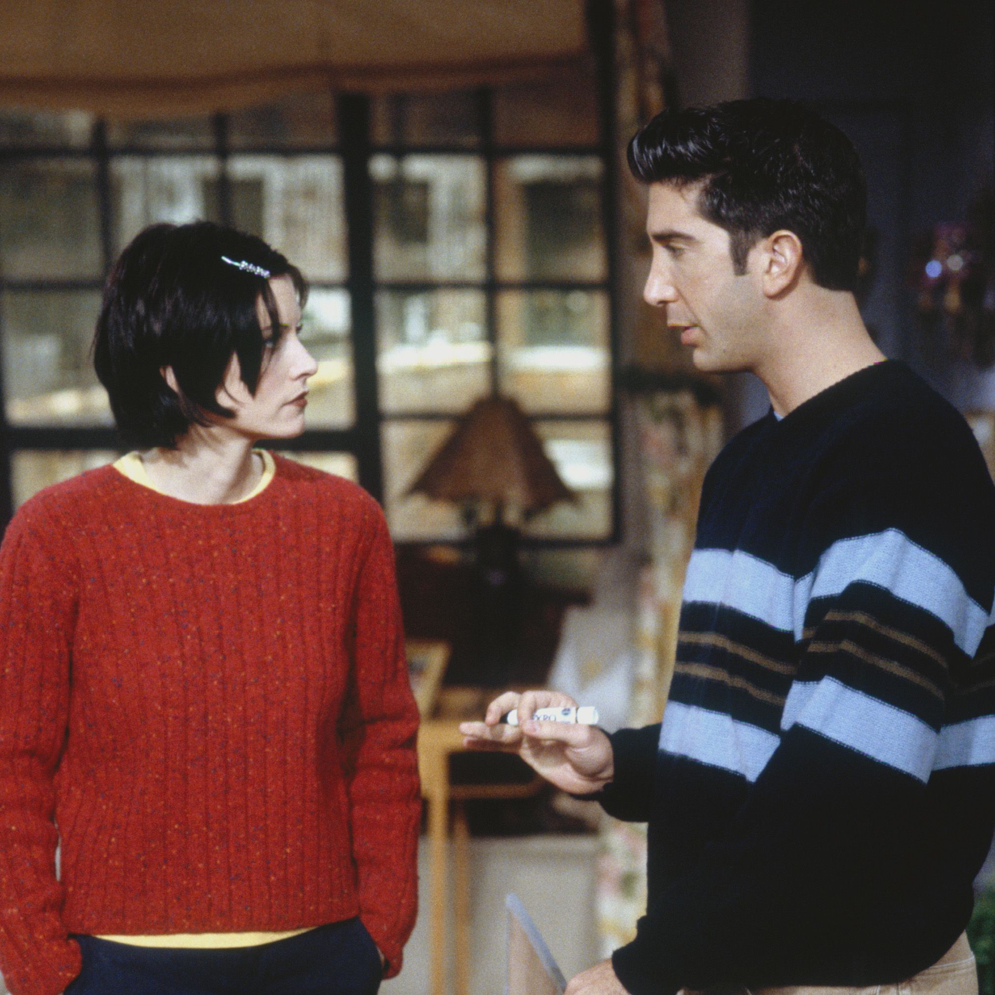 FRIENDS -- &quot&#x3B;The One with the Embryos&quot&#x3B; Episode 12 -- Pictured: (l-r) Courteney Cox as Monica Geller, David Schwimmer as Ross Geller -- Photo by: J. Delvalle/NBCU Photo Bank