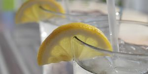 Ice cold drink - gin and tonic or lemonade
