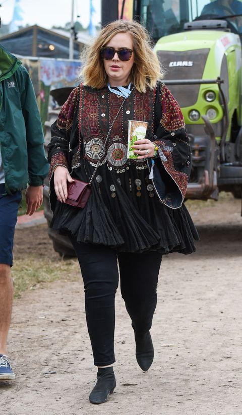 Adele celebs at Glastonbury festival 2015