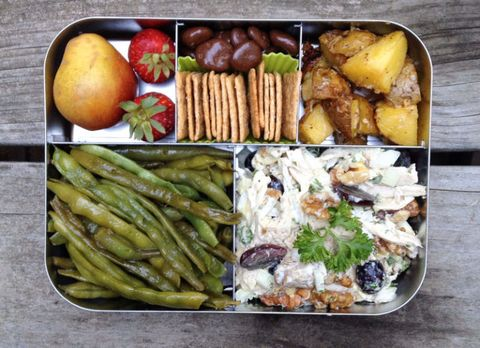 Packed lunch ideas for work healthy packed lunches 2 chicken salad with steamed green beans roasted potatoes crackers and fruit forumfinder Choice Image