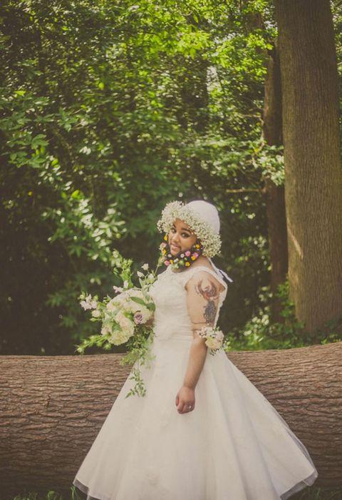 Clothing, Dress, Petal, Bridal clothing, Wedding dress, Bouquet, Gown, Bride, Headpiece, Bridal party dress,