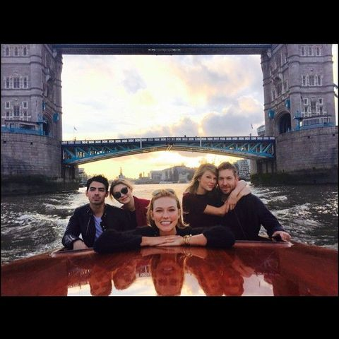 Taylor Swift, Joe Jonas, Gigi Hadid, and Calvin Harris go on a double date on a boat in London, joined by Karlie Kloss
