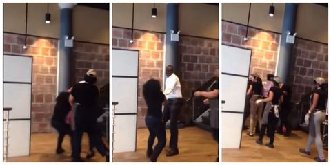 This video shows the moment a café manager punches his female employee to the floor