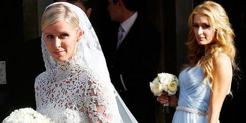 Nicky Hilton on her wedding day and Paris Hilton as bridesmaid