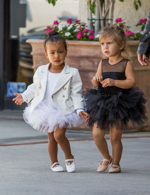 North West and Penelope Disick wearing tutus on their way home after ballet class
