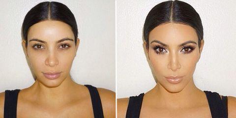 Kim Kardashian's makeup masterclass before and after
