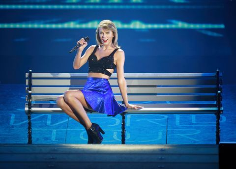 Taylor Swift performing onstage for the 1989 world tour
