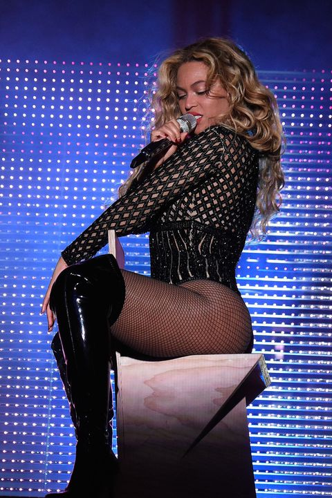 Beyonce black sparkly mesh leotard at made in america festival