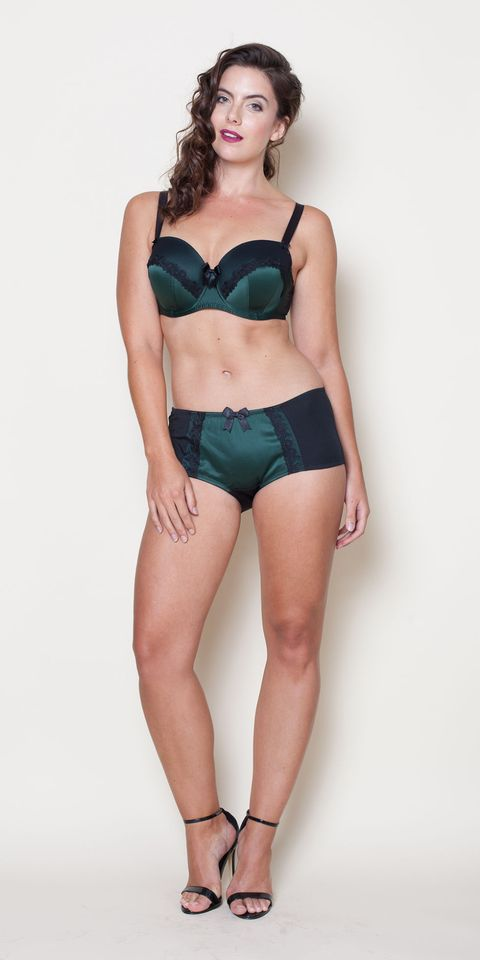 "<a target=""_blank"" href=""http://www.evans.co.uk/en/evuk/product/clothing-250468/view-new-in-4733088/evans-green-satin-underwired-balcony-shelly-bra-4719808?bi=1&ps=20&cat1=209427&cat2=2577496&productId=21255647&cmpid=par_1_cosmo_wk3_fashfest_15C27TPNK"">Bra</a>, £19.76 and <a target=""_blank"" href=""http://www.evans.co.uk/en/evuk/product/clothing-250468/view-new-in-4733088/evans-green-forest-shelly-knickers-4721402?bi=1&ps=20&cat1=209427&cat2=2577496&productId=21255888&cmpid=par_1_cosmo_wk3_fashfest_15P07TBLE"">briefs</a>, £9.12, both Evans"