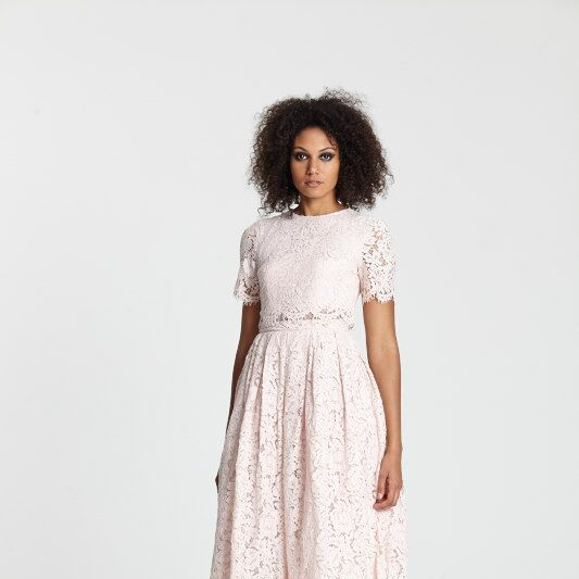 """<a target=""""_blank"""" href=""""http://www.asos.com/asos/asos-lace-crop-top-midi-prom-dress/prod/pgeproduct.aspx?iid=5269815&amp&#x3B;clr=Nude&amp&#x3B;SearchQuery=pink+lace+dress&amp&#x3B;pgesize=36&amp&#x3B;pge=0&amp&#x3B;totalstyles=154&amp&#x3B;gridsize=3&amp&#x3B;gridrow=2&amp&#x3B;gridcolumn=1"""">Dress</a> and <a target=""""_blank"""" href=""""http://www.asos.com/asos/asos-pledge-pointed-high-heels/prod/pgeproduct.aspx?iid=5350919&amp&#x3B;clr=Floral&amp&#x3B;SearchQuery=floral+heel&amp&#x3B;pgesize=13&amp&#x3B;pge=0&amp&#x3B;totalstyles=13&amp&#x3B;gridsize=3&amp&#x3B;gridrow=1&amp&#x3B;gridcolumn=1"""">heels</a>, both ASOS"""