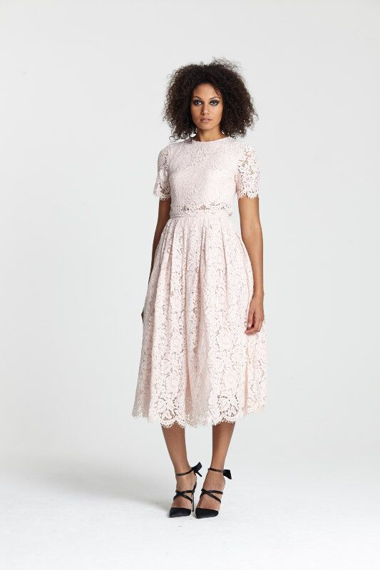 "<a target=""_blank"" href=""http://www.asos.com/asos/asos-lace-crop-top-midi-prom-dress/prod/pgeproduct.aspx?iid=5269815&clr=Nude&SearchQuery=pink+lace+dress&pgesize=36&pge=0&totalstyles=154&gridsize=3&gridrow=2&gridcolumn=1"">Dress</a> and <a target=""_blank"" href=""http://www.asos.com/asos/asos-pledge-pointed-high-heels/prod/pgeproduct.aspx?iid=5350919&clr=Floral&SearchQuery=floral+heel&pgesize=13&pge=0&totalstyles=13&gridsize=3&gridrow=1&gridcolumn=1"">heels</a>, both ASOS"