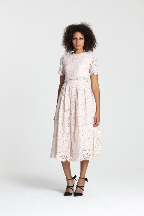 "<a target=""_blank"" href=""http://www.asos.com/asos/asos-lace-crop-top-midi-prom-dress/prod/pgeproduct.aspx?iid=5269815&amp;clr=Nude&amp;SearchQuery=pink+lace+dress&amp;pgesize=36&amp;pge=0&amp;totalstyles=154&amp;gridsize=3&amp;gridrow=2&amp;gridcolumn=1"">Dress</a> and <a target=""_blank"" href=""http://www.asos.com/asos/asos-pledge-pointed-high-heels/prod/pgeproduct.aspx?iid=5350919&amp;clr=Floral&amp;SearchQuery=floral+heel&amp;pgesize=13&amp;pge=0&amp;totalstyles=13&amp;gridsize=3&amp;gridrow=1&amp;gridcolumn=1"">heels</a>, both ASOS"
