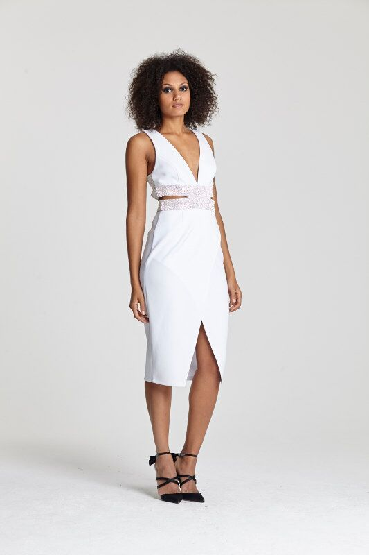 "<a target=""_blank"" href=""http://www.asos.com/ASOS/ASOS-RED-CARPET-Diamante-Cage-Pencil-Dress/Prod/pgeproduct.aspx?iid=5470386&cid=2623&sh=0&pge=0&pgesize=204&sort=-1&clr=White&totalstyles=377&gridsize=3 "">Dress</a> and <a target=""_blank"" href=""http://www.asos.com/ASOS/ASOS-PRIDE-AND-JOY-Pointed-High-Heels/Prod/pgeproduct.aspx?iid=5234015&cid=4172&Rf989=5020&sh=0&pge=1&pgesize=36&sort=-1&clr=Black&totalstyles=260&gridsize=3"">shoes</a>, both ASOS"