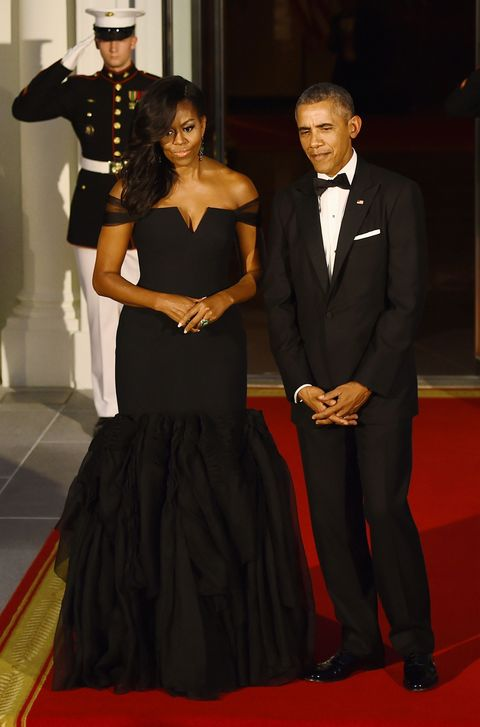 Michelle and Barack Obama at the white house state dinner for chinese president
