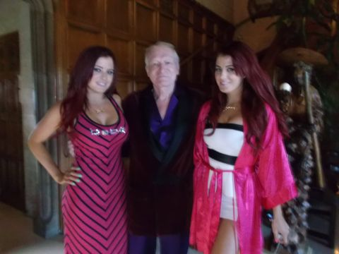 The Howe twins and Hugh Hefner in the Playboy Mansion