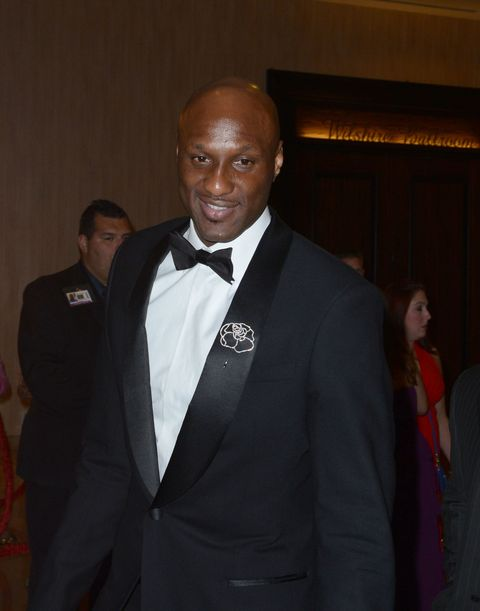 Lamar Odom wearing a tuxedo at the 2014 Golden Globes