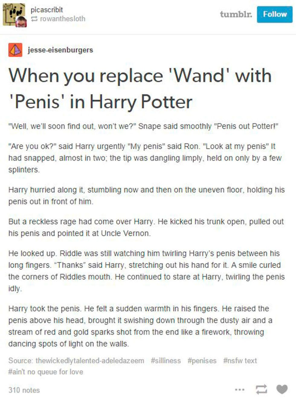 Harry potter replace wand with penis