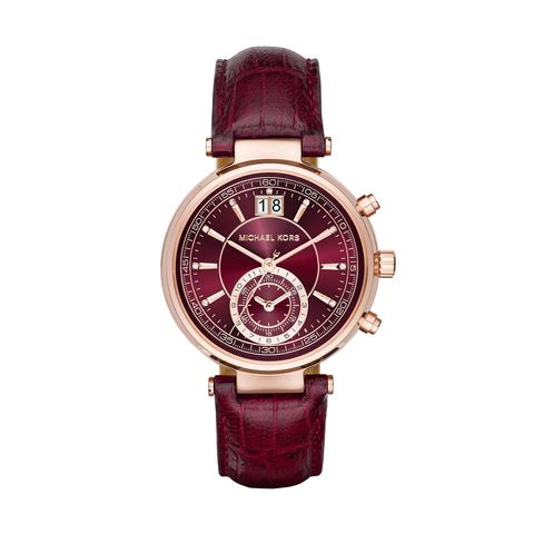 Product, Analog watch, Brown, Watch, Glass, Red, Magenta, Pink, Watch accessory, Fashion accessory,