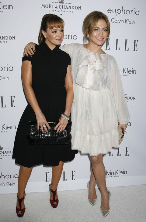 Leah Remini and Jennifer Lopez at the Elle Women in Hollywood party