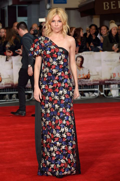 Sienna Miller wearing a floral dress at the premiere of Burnt
